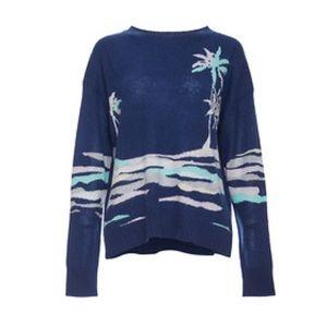 360CASHMERE Navy Palm Tree Sweater Size M